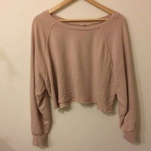 Dusty rose pink crop raw hem sweatshirt